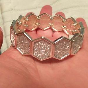3/$20 Silver sextagon stretch bracelet